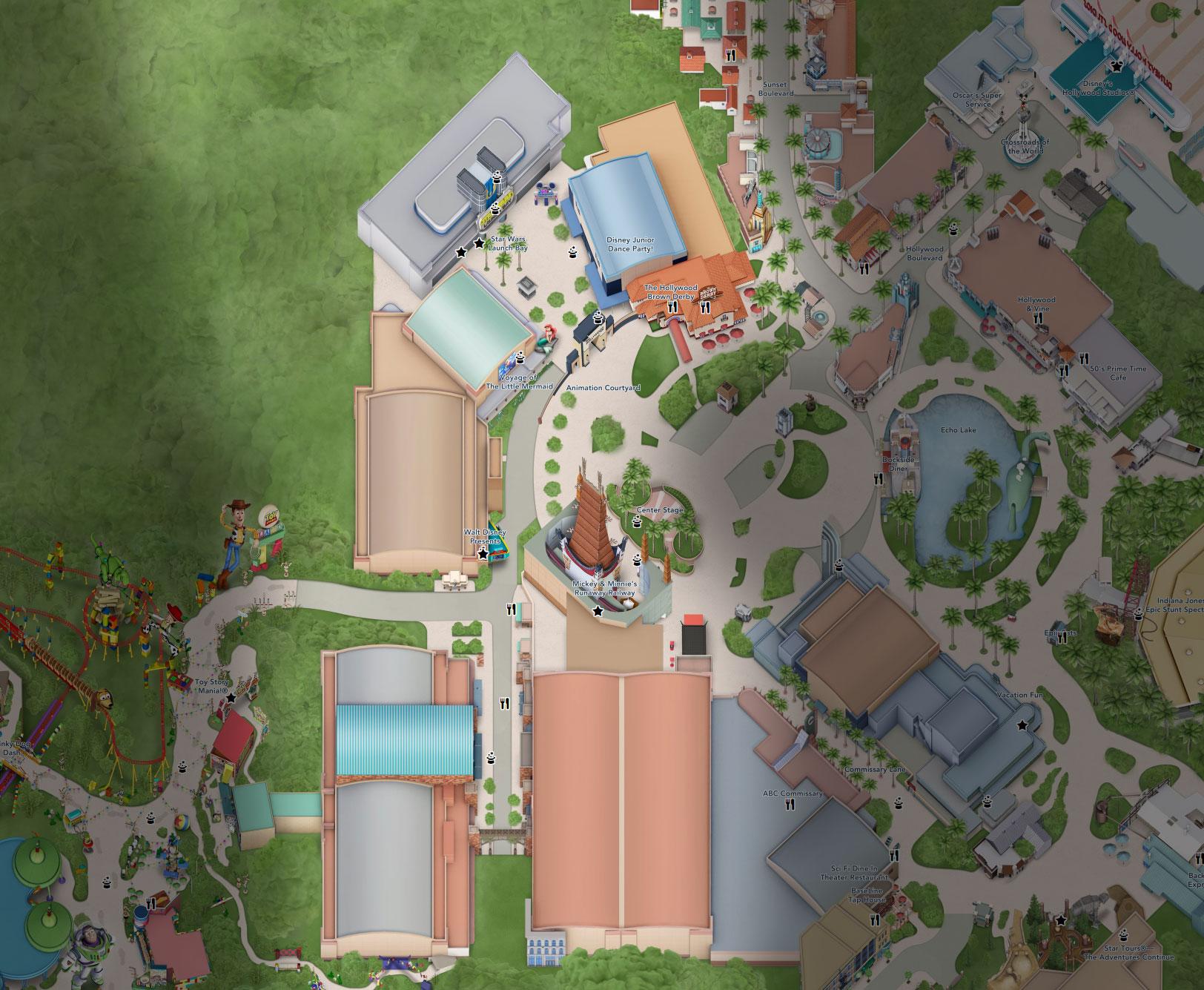 plan animation courtyard hollywood studios floride disneyland