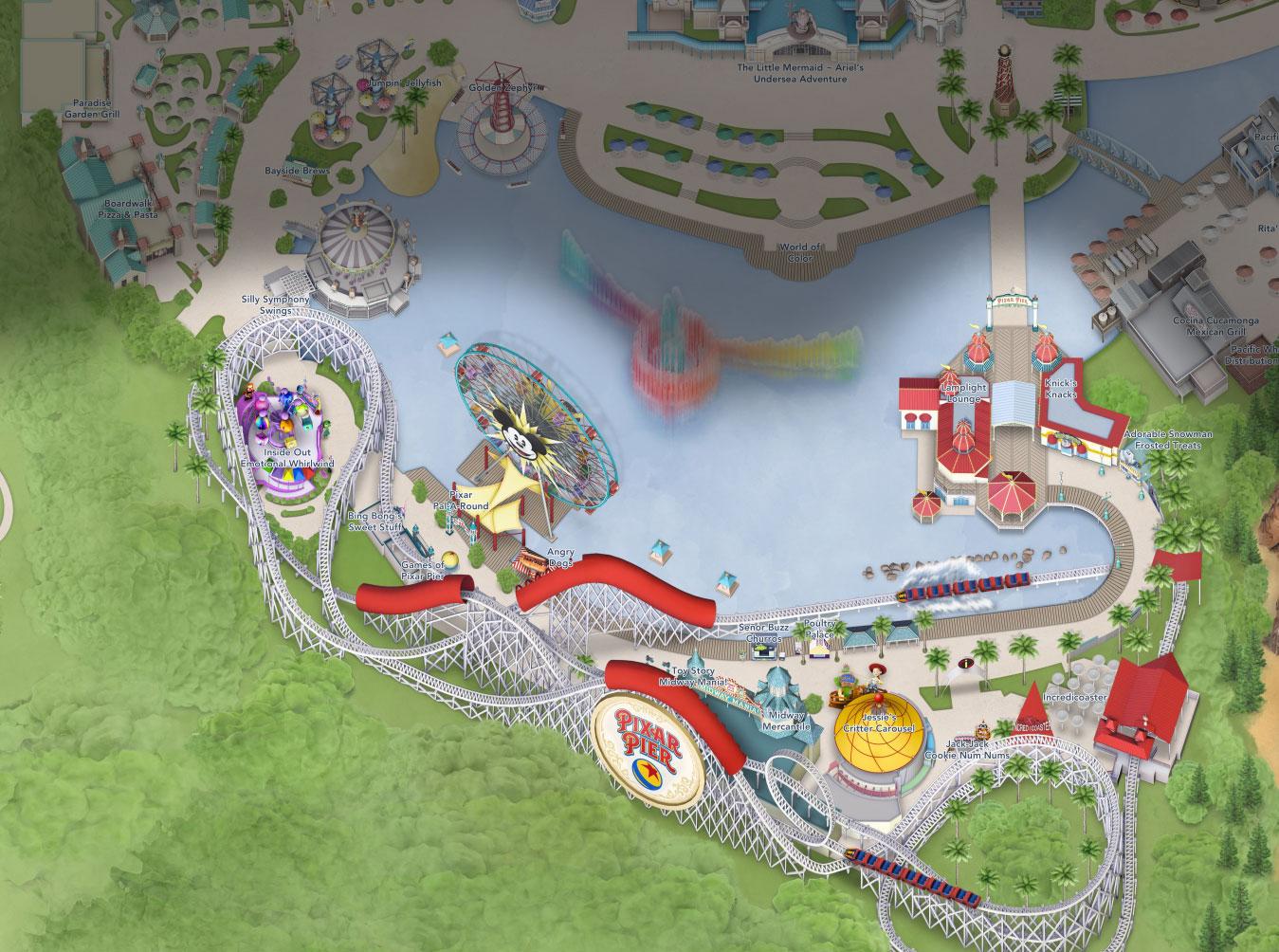 plan pixar pier park disneyland california