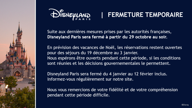 reconfinement disneyland paris